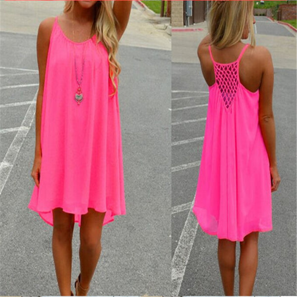 Women Beach Dress Fluorescence Female Summer Dress Chiffon Voile Women Casual Dress 2020 Summer Style Women Clothing Plus Size