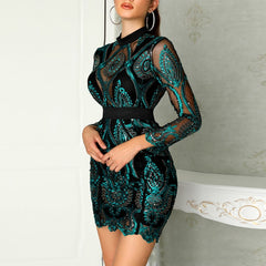 Women Dress Evening Party Long Sleeve Pleated Sequin Autumn Lace Embroidery Best Gift Mini Beautiful Charming Bodycon Slim Fit - Slabiti