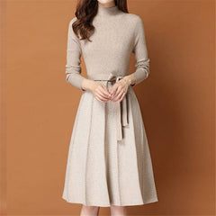 Women Dress Simple Elegant Dress Spring Autumn Winter O-Neck Long Sleeve A-line Knitted Midi Dress Plus Size vestidos de festa - Slabiti