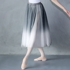 Women Gradient Chiffon Long Dress Dancewear Adult DanceChiffon Dress Ballerina Dance Skirt - Slabiti
