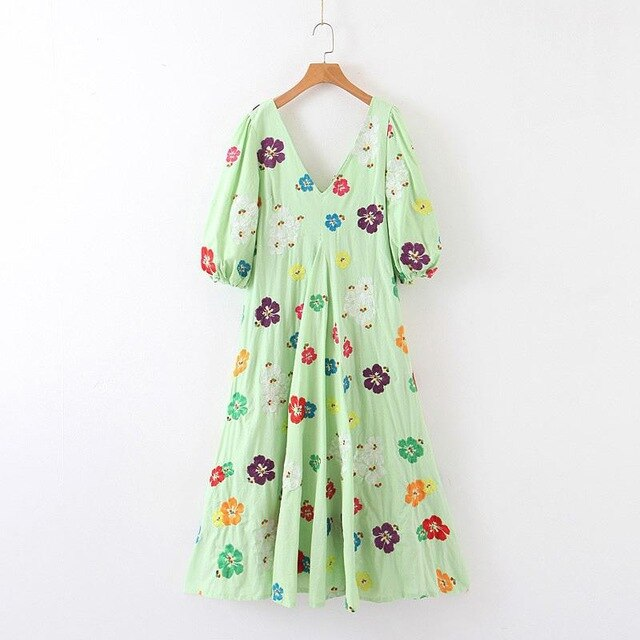 Women Light Green Flower Embroidery  Dress V Neck Long Hippie Chic Sunflower Embroidery Mexican Dress F0049 - Slabiti
