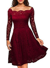 Women Party Dress Elegant Off The Shoulder Lace Long  Sleeve Red Slim Casual Bodycon Plus Size 3XLFemale Ladies Summer Dress - Slabiti