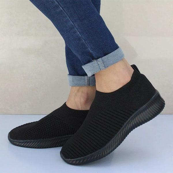 Women Sneaker Air Mesh Soft Female Knitted Vulcanized Shoes Casual Slip On Ladies Flat Shoes Walking Footwear Dropping Shipping - Slabiti