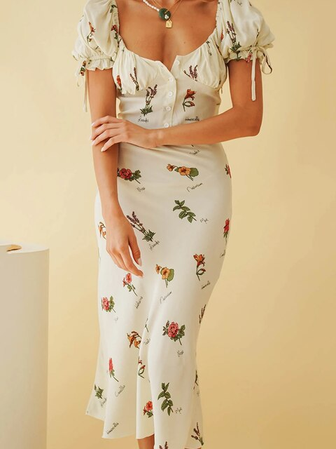 Women Vintage Party Dress Floral Print  Elegant Office Lady Dress 2020 Spring Dress Long Maxi Dress - Slabiti