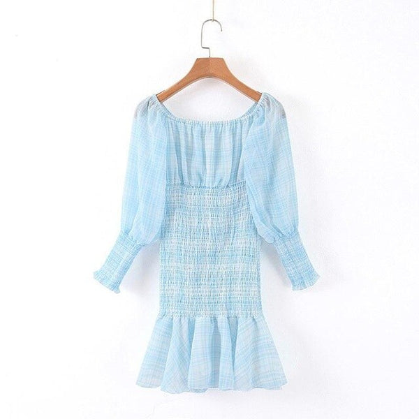 Women's Hippie Chic Plaid Dress Light Blue Offer Soulder Long Sleeve Sexy Plaid Check Chiffon Dress F0054 - Slabiti