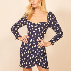 Women's Spring Summer Mini Dress Floral Print Vintage Dress Long Sleeve Casual Sexy Elegant Dress Party Vestidos - Slabiti