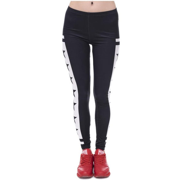 Womens Fashion Elasticity Yes and No Printed Slim Fit Legging Workout Trousers Casual Pants Leggings - Slabiti