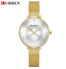 Womens Gold Watch Fashion Rhinestone Quartz Ladies Bracelet WatchES CURREN 2018 Female Clock Steel Mesh relogio feminino Gift - Slabiti