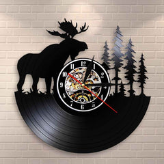 Woodland Deer Wall Decor Retro Vinyl Record Wall Clock Antler Forest Elk King With Pine Tree Hunting Wall Clock Hunter Gift Idea - Slabiti
