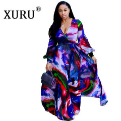 XURU Women's Beach Chiffon Print Long Dress V-neck Long Sleeve Loose Skinny Dress Bohemian Casual Large Size Dress S-3XL-5XL - Slabiti