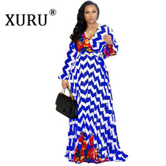 XURU Women's Chiffon Dress Flower Print V-neck Beach Large Size Long Dress S-5XL Elegant Ladies Casual Loose Dress - Slabiti