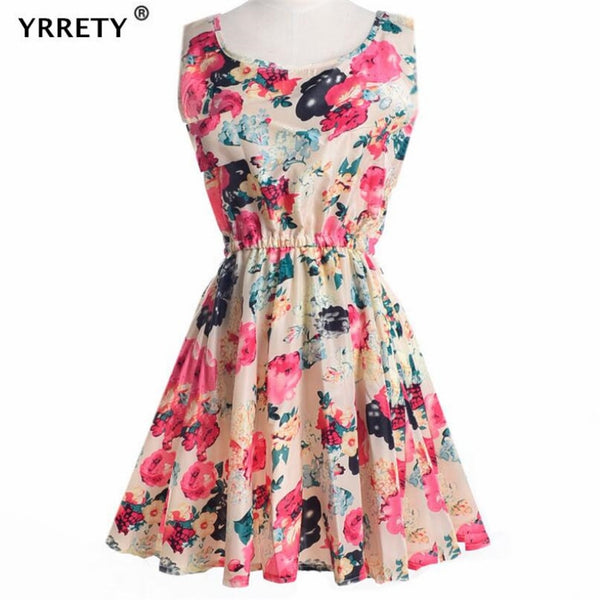 YRRETY Women Elastic High Waist Above Knee-length Floral Prints Chiffon Dress Butterfly Off Shoulder Leaf Strapless Vestidos