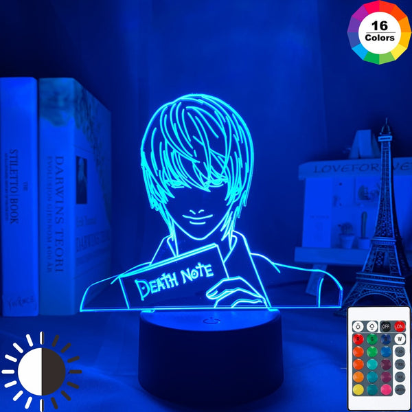 Yagami Light Figure Acrylic LED Night Light Anime Gift Death Note Lamp for Kid Bedroom Decor Lighting Childrens Room Nightlight - Slabiti