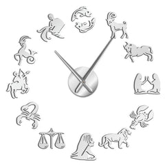 Zodiac Signs Wall Art Stickers Exclusive Wall Clock Constellation DIY Giant Wall Clock Astrology Hanging Clock Watch Home Decor - Slabiti
