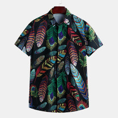Mens Summer Hawaiian Casual Fashion Leaf Printing Shirts - Slabiti