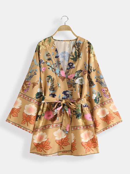 Bohemian Floral Print V Neck Belted Mini Dress Cardigans