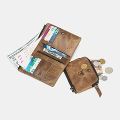 Bullcaptain RFID Antimagnetic Vintage Card Slots Zipper Coin Bag Wallet - Slabiti