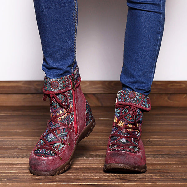 SOCOFY Leather Splicing Jacquard Boots - Slabiti