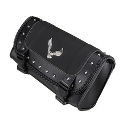 Black PU Leather Motorcycle Tool Bag Luggage Saddlebags Saddle Bag Universal For Harley - Slabiti
