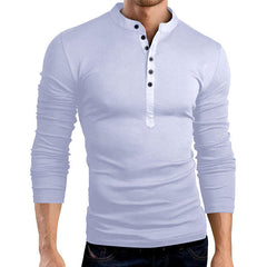 Men's Casual Solid Color V-neck T-Shirts Long-sleeved Slim Bottoming Tops - Slabiti