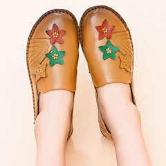 Casual Soft Star Flat Leather Loafers For Women - Slabiti
