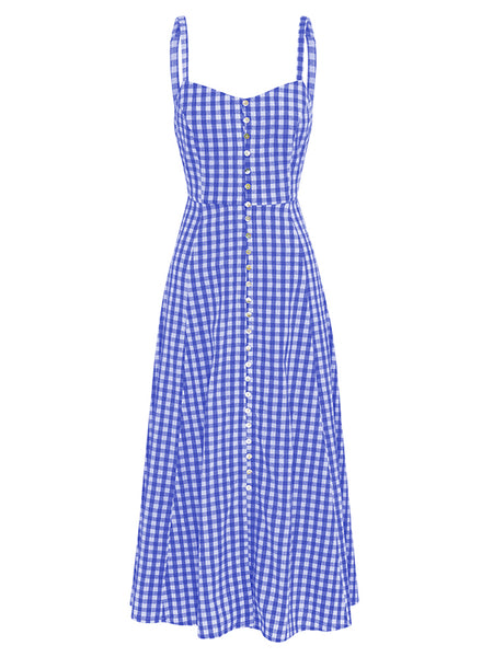 Women Strappy Sleeveless Button Loose A Line Plaid Dress