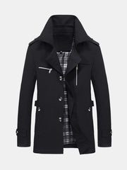 Mens Casual Slim Black Trench Coat Winter Classic Trench Coats - Slabiti