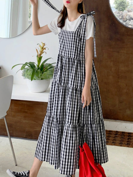 Women Bowknot Tie Strappy Plaid Summer Casual Tank Dress