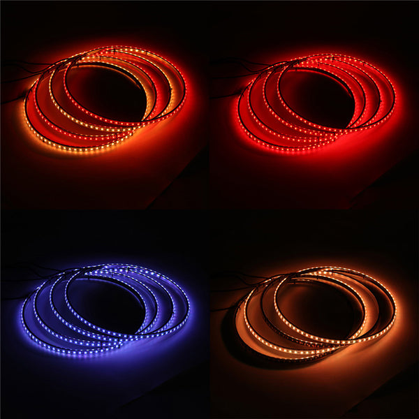 4PCS 15.5 Inch General Car 60 LED Wheel Ring Lights RGB 5050 SMD bluetooth Control Lamps DC12V 25W Single Row Light Strip - Slabiti