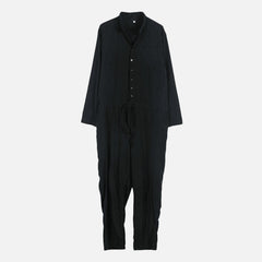 Men Solid Color Drawstring Relaxed Revere Collar Jumpsuit - Slabiti
