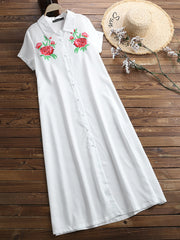Embroidery Flower Summer Shirt Dress - Slabiti