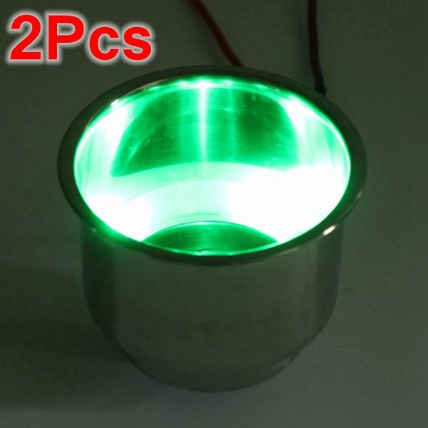 2PCS Green 8LEDs Stainless Steel Cup Drink Holder Marine Boat Car Truck Camper - Slabiti