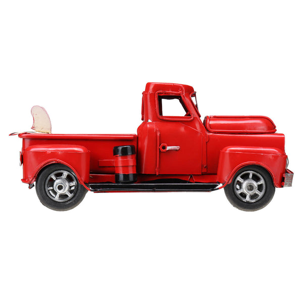 Old Red Metal Truck Vehicle Car Model Kids Christmas Gifts Toys Table Top - Slabiti