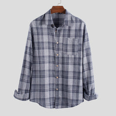Men Checked Single Pocket Long Sleeve Shirts - Slabiti