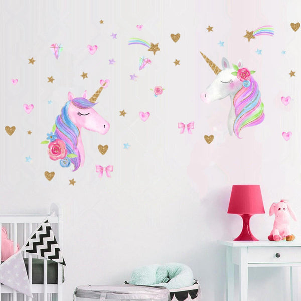 3 Types Magic Pink Horse Wall Stickers Dreamy Home Decor For Kids Room Decorations - Slabiti