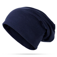 Mens Unisex Solid Cotton Beanie Caps Multifunction Both Use Skull Hat And Collar Scarf - Slabiti