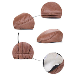 Men Vintage Artificial Leather Beret Cap Solid Casual Visor Winter Warm Gentleman Forward Hats - Slabiti