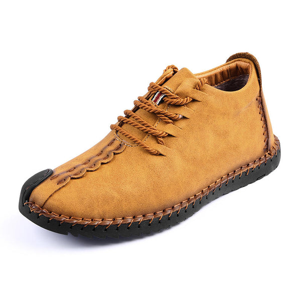 Menico Big Size Men Comfortable Leather Hand Stitching Ankle Boots - Slabiti