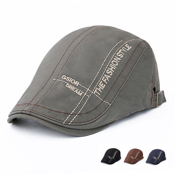 Men Cotton Letter Beret Caps Outdoor Buckle Adjustable Sport Newsboy Hat - Slabiti