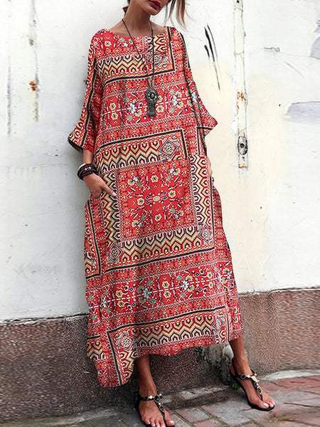 Vintage Floral Print Crew Neck Loose Baggy Maxi Dress