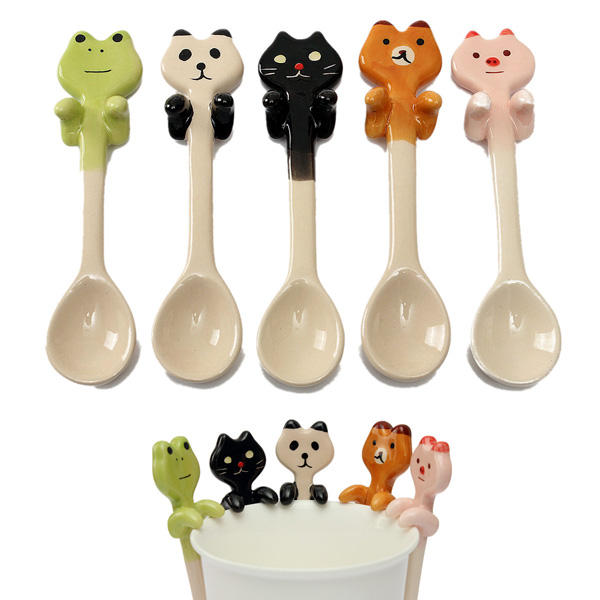 Cute Cartoon Animal Ceramic Hanging Coffee Scoop Milk Tea Soup Spoon Tableware Decor - Slabiti