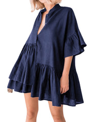 Women Pleated Loose Button Down Half Sleeve Irregular Dress