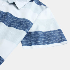 Men Casual Stripe Summer Short Sleeve Turn Down Collar Shirts - Slabiti