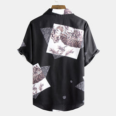 Mens Summer Printed Breathable Loose Comfy Turn Down Collar Casual Shirts - Slabiti
