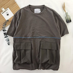 Mens Trendy Workwear Big Pockets Loose Casual Summer T-shirts - Slabiti