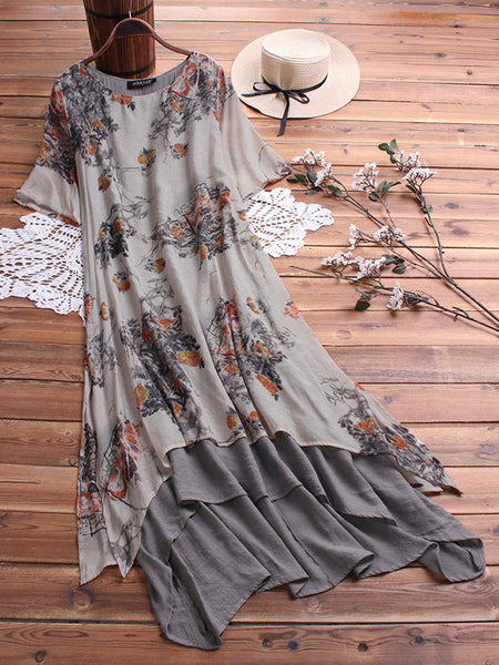 Vintage Floral Print O-neck Layered Short Sleeve Dress