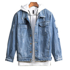 Mens Fashionable Ripped Denim Jacket - Slabiti