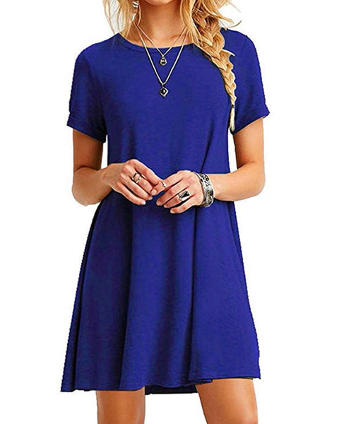 Short Sleeve Casual Loose O-neck Summer Mini Dress