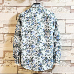 Mens Square Collar Printing 100% Polyester Casual Long Sleeve Shirts - Slabiti