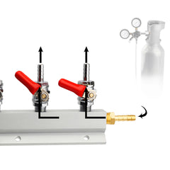 2 Way CO2 Gas Distribution Block Manifold With 7mm Hose Barb Wine Making Tools Draft Beer Dispense - Slabiti